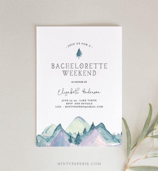 Mountain Retreat Bachelorette Weekend Invitation & Itinerary