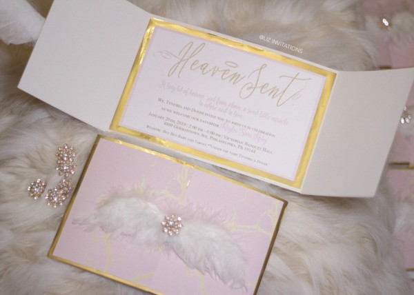 Heaven Sent Baby Shower Invitations Angel Wings 25 Cts