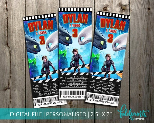 How To Train Your Dragon Birthday Movie Ticket Invitationhow