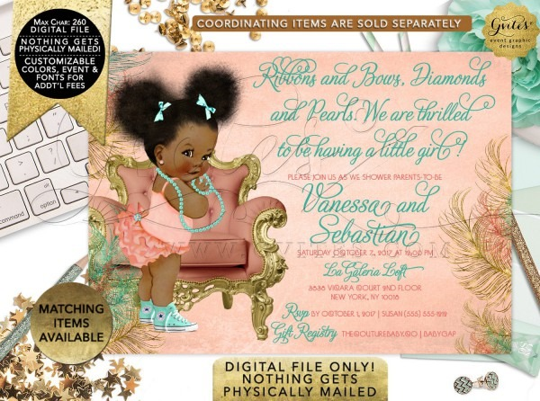 Coral Gold And Mint Baby Shower Invitations Afro Puffs