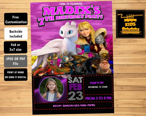 How To Train Your Dragon 3 Invitation For Girls Customizable