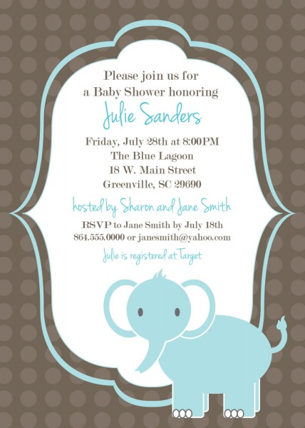 Printable Baby Shower Invitations, Elephant , Boy, Light Blue