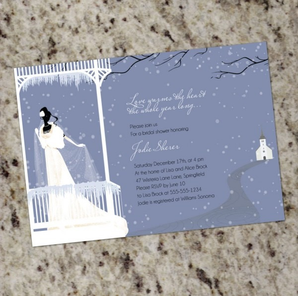 Warms The Heart Winter Themed Bridal Shower Invitations