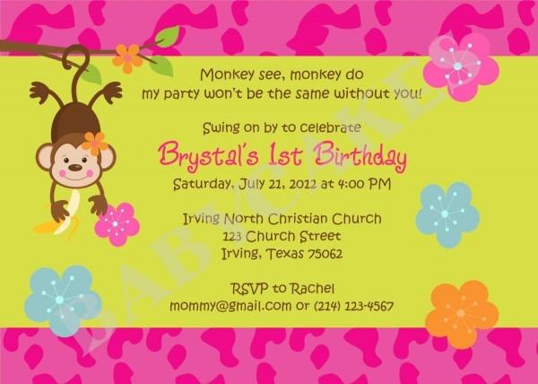 Monkey Love Birthday Invitations