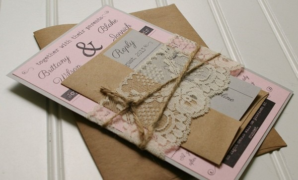 Twine And Lace Wedding Invitations  Kraft Paper  Rustic