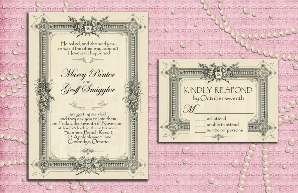 Art Deco Gatsby Style Wedding Invitation Suite With Rsvp Card
