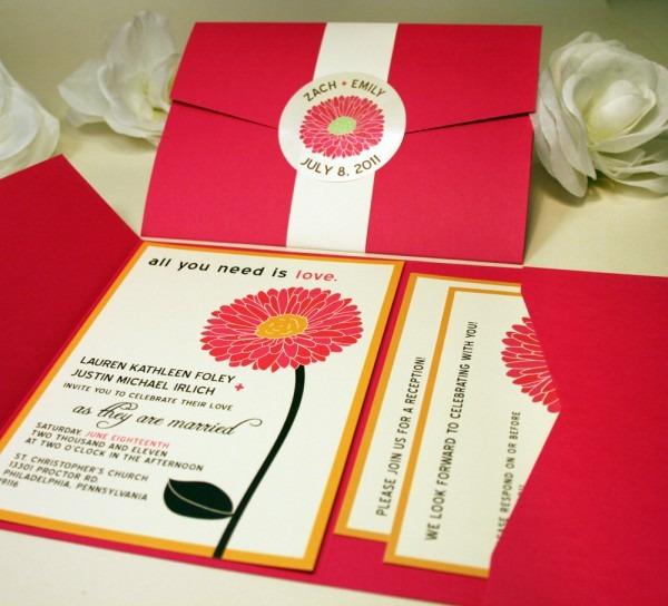 Daisy Wedding Invitations Floral Wedding Invitation Set Pink