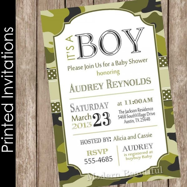 Printed Camo Baby Shower Invitation Army Baby Shower
