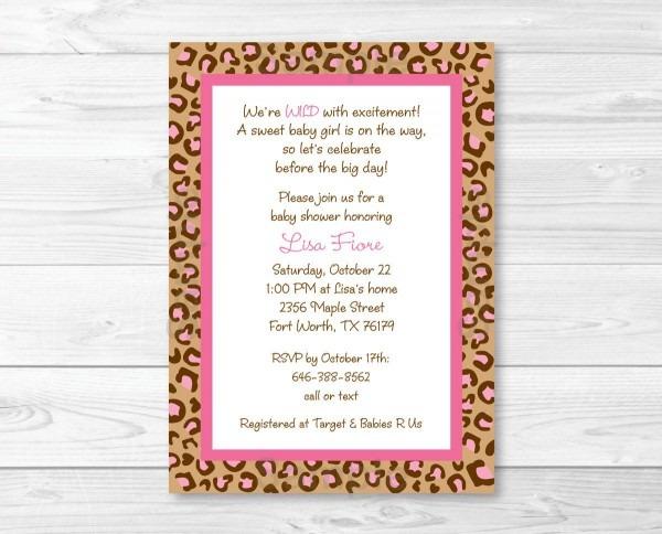 Cute Cheetah Print Baby Shower Invitation   Cheetah Baby