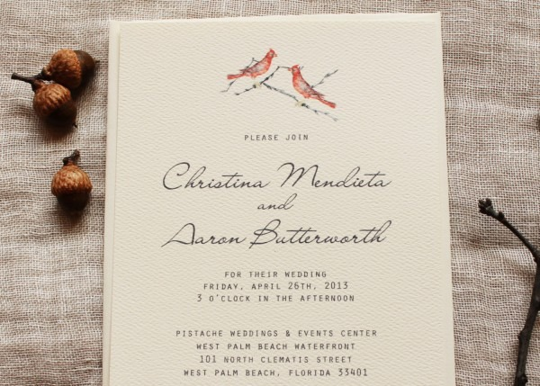Red Bird Wedding Invitation Set Cardinal Wedding Invitations