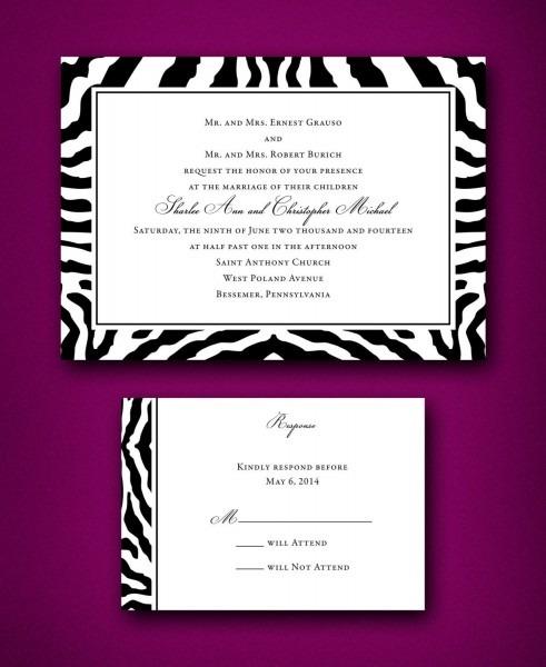 Black & White Zebra Print Wedding Invitations Trendy Wedding