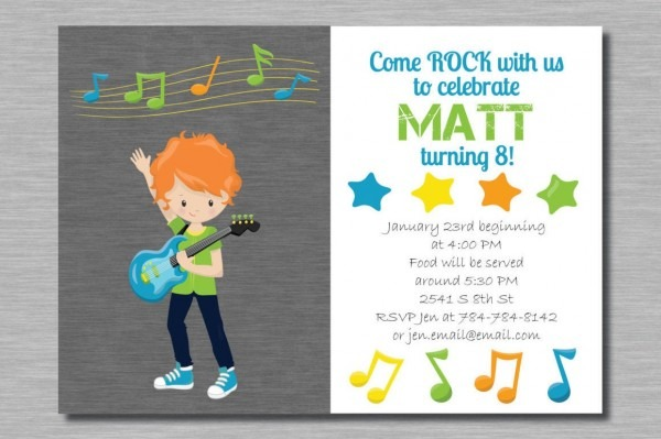 Printable Rock Star Boy Guitar Birthday Party Invitation