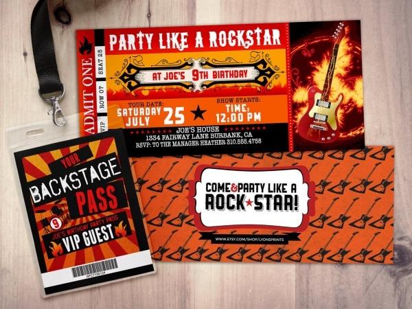Rock Star Concert Ticket Birthday Party Invitation