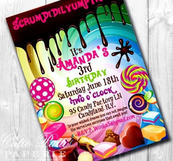 Unique Of Candy Themed Birthday Invitations Cool Free Template