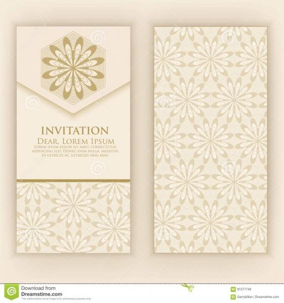 Invitation, Cards With Ethnic Arabesque Elements  Arabesque Style