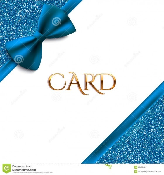 Invitation Decorative Card Template With Blue Bow And Glitter