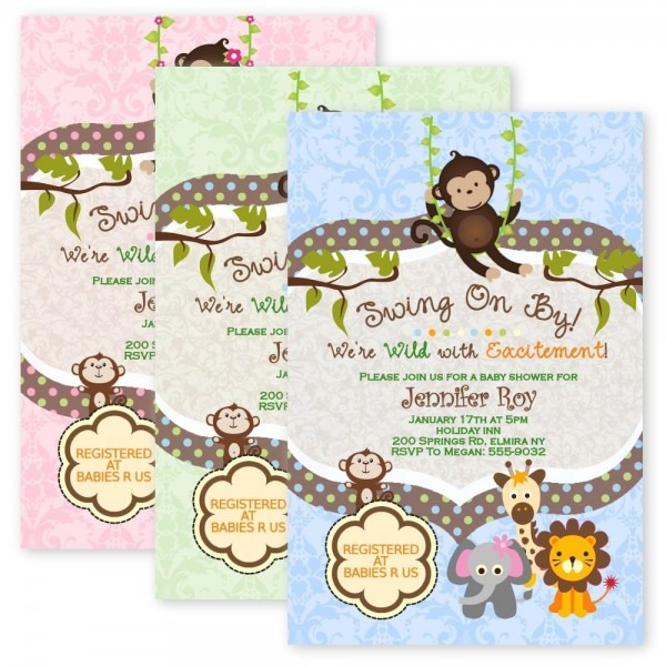 Baby Shower  Baby Shower Monkey Invitations  Baby Shower
