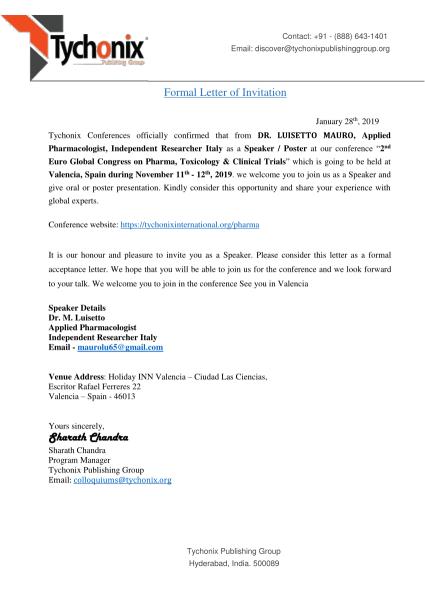 Pdf) Formal Letter Of Invitation Sharath Chandra