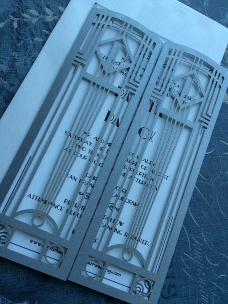 Laser Cut Wedding Invitations, Monogram Art Deco Gate Invitations