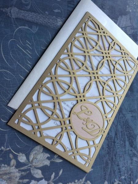 Laser Cut Wedding Invitations, Monogram Art Deco Rings Invitations
