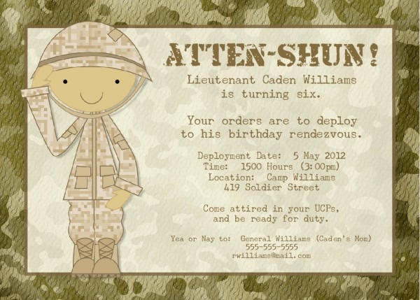 Bear River Photo Greetings  Soldier Birthday Party Or Baby Shower