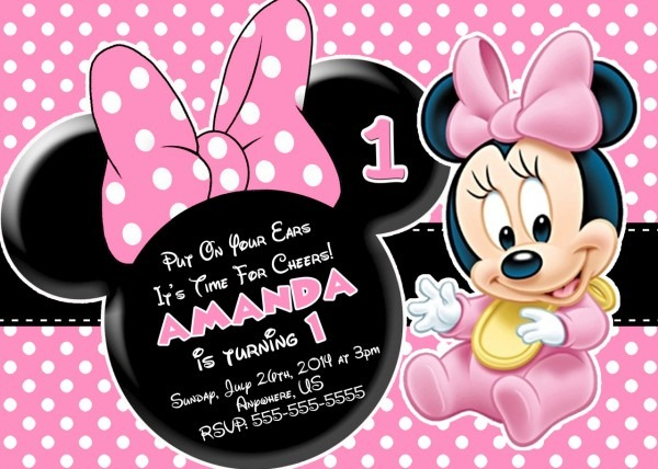 Minnie Mouse First Birthday Invitations Minnie Mouse First
