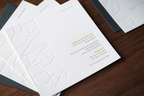 Modern Blind Emboss Wedding Invitation • Noteworthy Letterpress