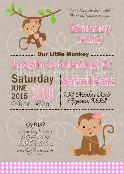 Monkey Girl Birthday Invitations