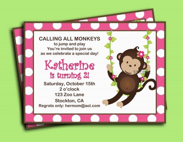 Monkey Love Birthday Invitations Monkey Birthday Invitations