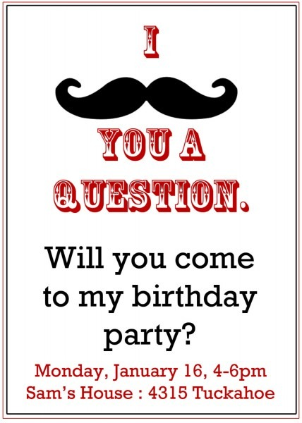 Mustache Party Invitations Mustache Party Invitations With A