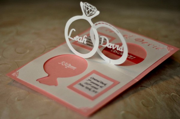 New Pop Up Invitation Cards Wedding Linked Rings Card Template