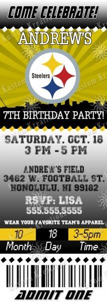 Nfl Pittsburgh Steeler's Birthday Invitation
