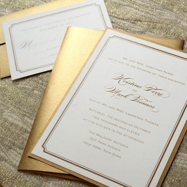 Simple Gold Wedding Invitation Printable Gold Wedding Invitations