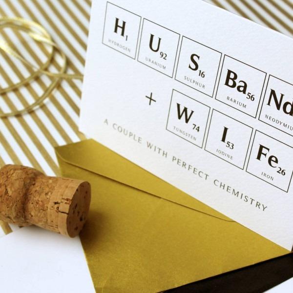 Perfect Chemistry Wedding Card By Vanilla Retro Stationery