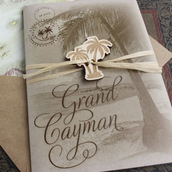 Rustic Palm Tree Wedding Invitation (printed Pocket Fold)