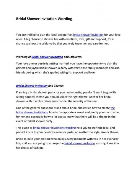 Bridal Shower Invitation Wording By Derek Page