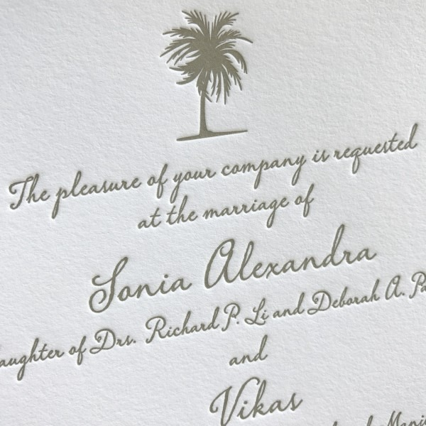 Palm Tree Letterpress Wedding Invitations