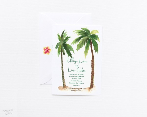 Palm Trees Beach Wedding Invitations