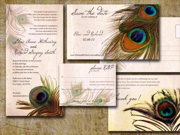 Peacock Bridal Shower Invitation — Classic Style   Elegant Peacock