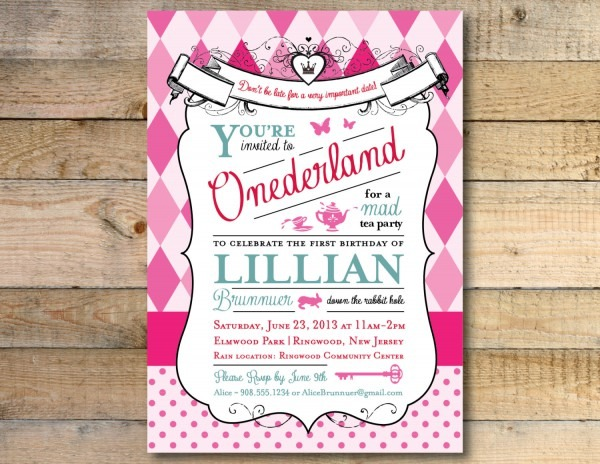 Birthday Invitation  Alice In Wonderland Birthday Party