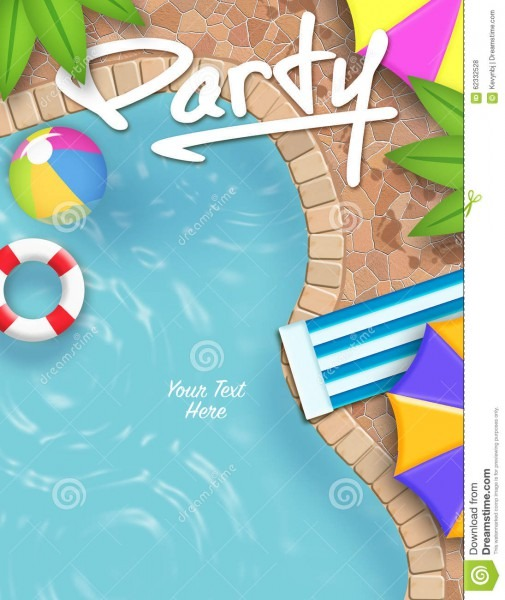 Pool Party Invitation Stock Illustration  Illustration Of Text
