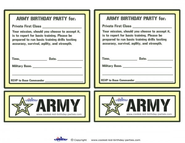 Printable Army Invitations