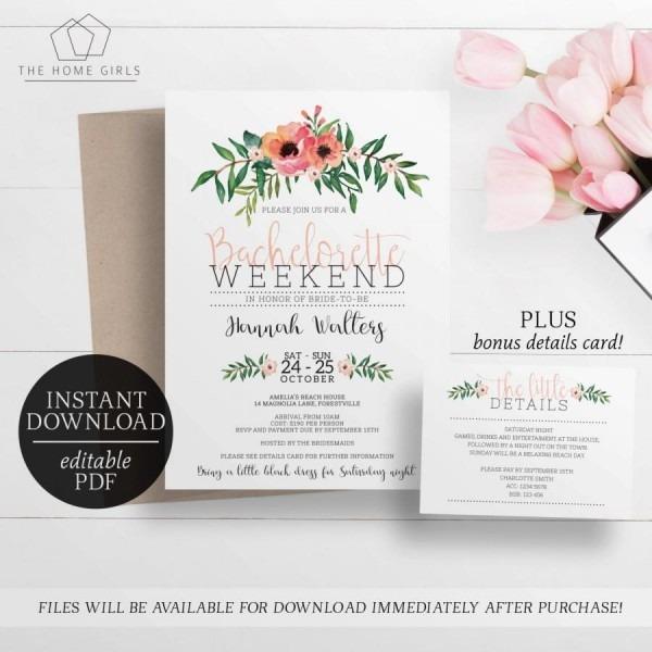 Printable Bachelorette Weekend Invitation   Editable Template