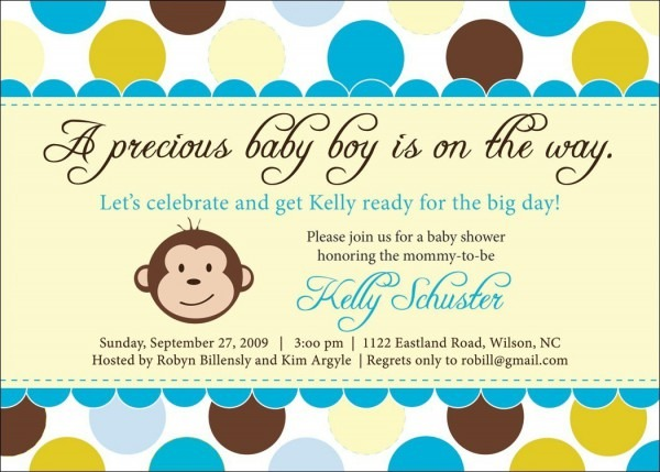 Baby Shower  Baby Shower Monkey Invitations  Monkey Boy Baby