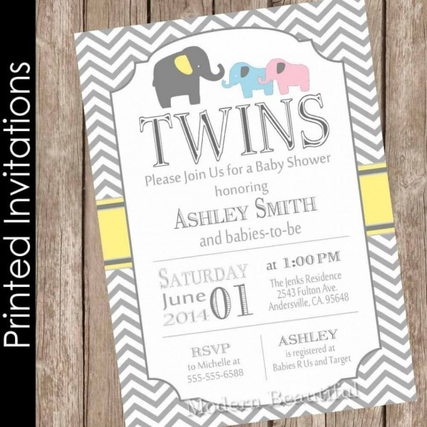 Baby Shower  Twin Baby Shower Invitations  Printed Elephant Twins