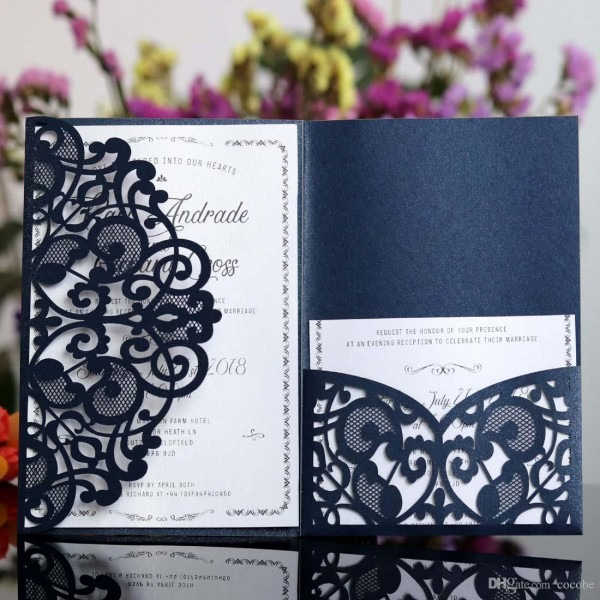 Laser Cut Wedding Invitations Kits With Rsvp Card Lace Hollow