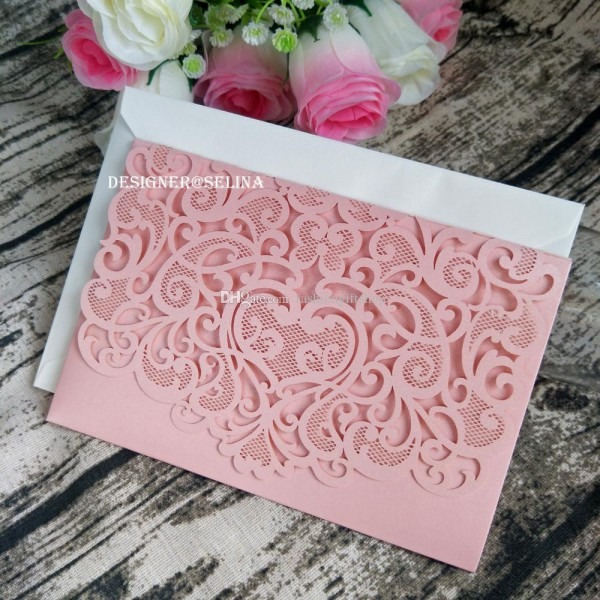 Elegant Pink Sweetheart Laser Cut Wedding Invitation Trifold
