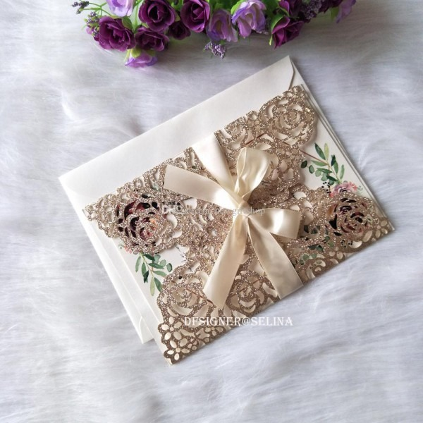 2019 Glittery Rose Gold Laser Cut Quinceanera Invites With