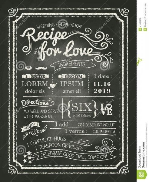 Recipe For Love Chalkboard Wedding Invitation Card Stock Vector