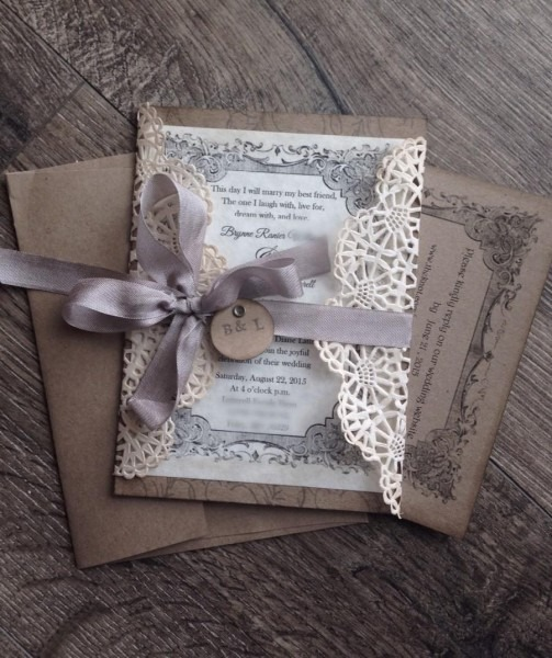 Rustic Gray, Lace Wedding Invitation Sample Rustic Wedding Invite